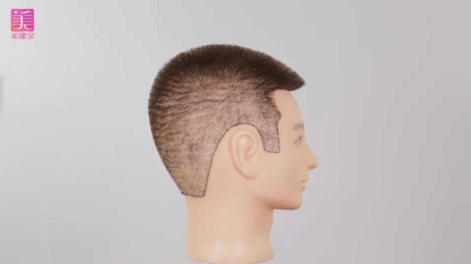 男士圆平头推剪美发作品